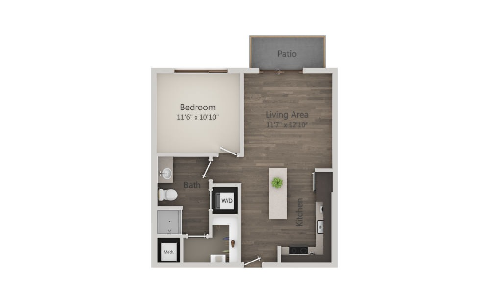 A1 - 1 bedroom floorplan layout with 1 bath and 616 square feet. (2D)