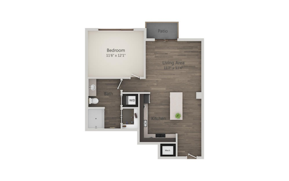 A1a - 1 bedroom floorplan layout with 1 bath and 674 to 675 square feet. (2D)