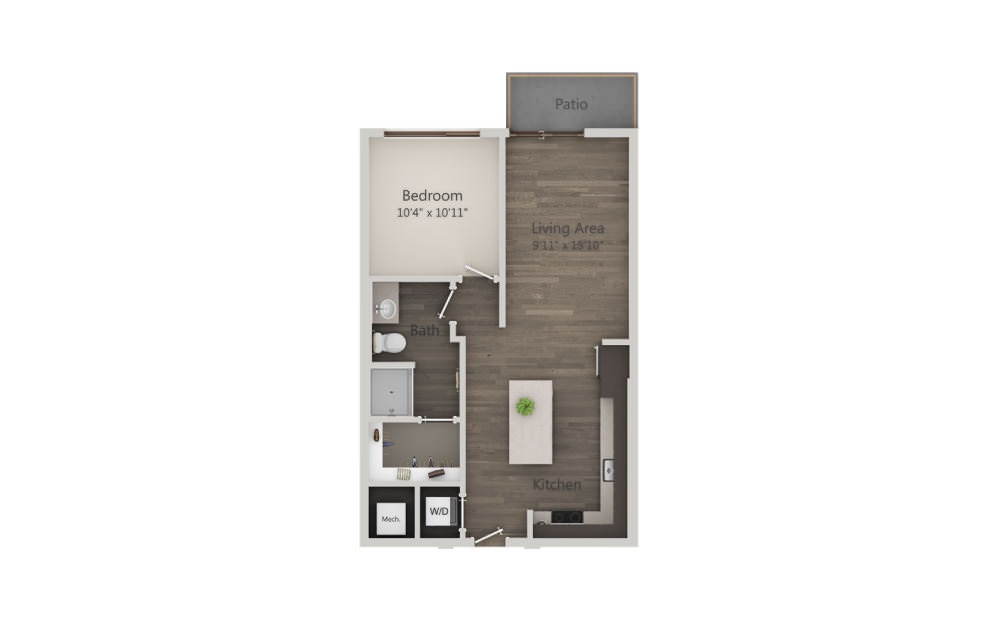 A2 - 1 bedroom floorplan layout with 1 bath and 666 square feet. (2D)