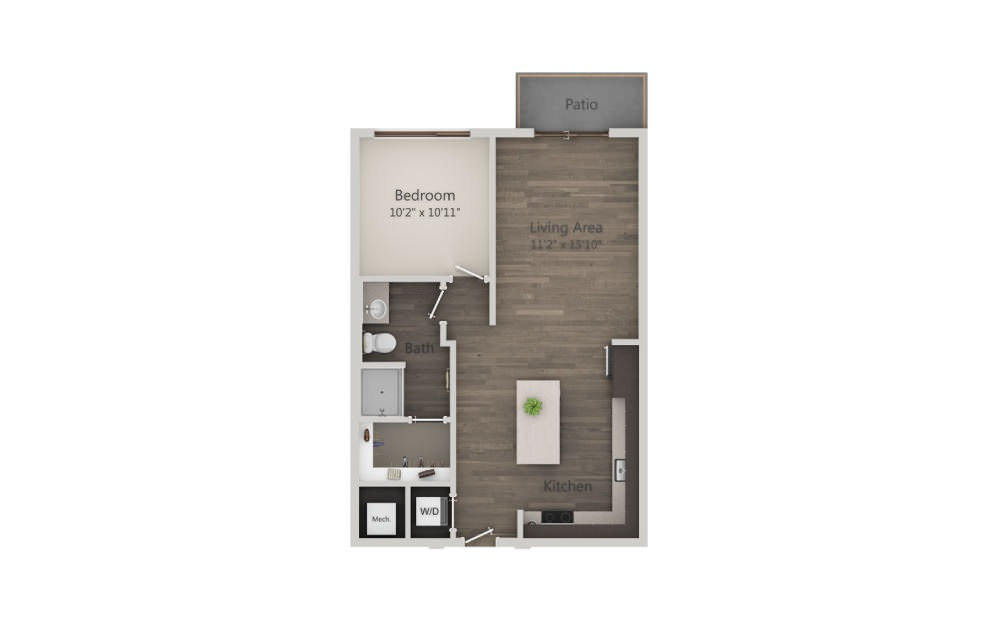 A2a - 1 bedroom floorplan layout with 1 bath and 702 square feet. (2D)