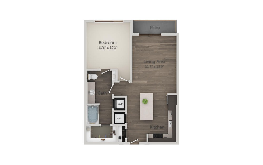 A3 - 1 bedroom floorplan layout with 1 bath and 715 square feet. (2D)