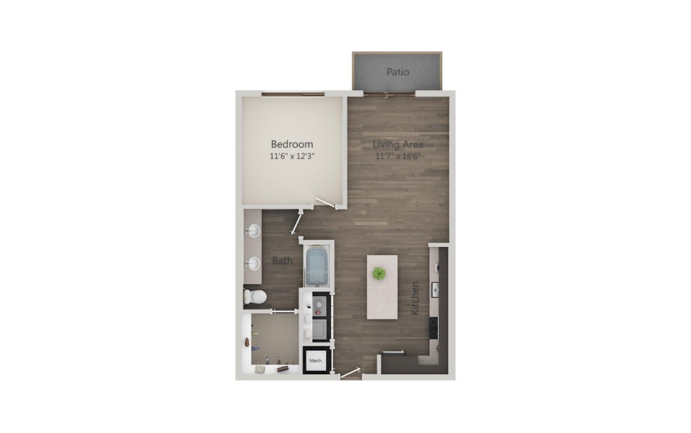 A4 - 1 bedroom floorplan layout with 1 bath and 768 square feet. (2D)