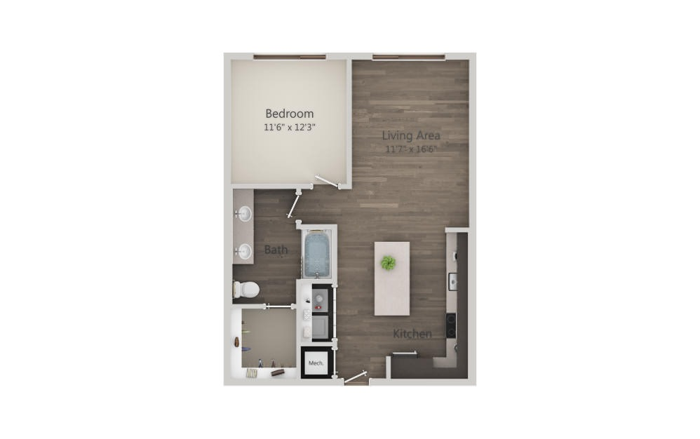 A4 Ansi - 1 bedroom floorplan layout with 1 bath and 768 square feet. (2D)