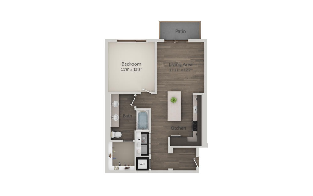 A4b - 1 bedroom floorplan layout with 1 bath and 784 square feet. (2D)