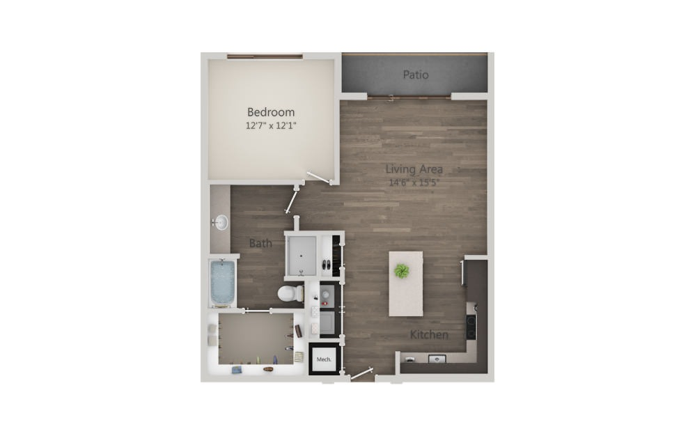 A5 - 1 bedroom floorplan layout with 1 bath and 837 square feet. (2D)