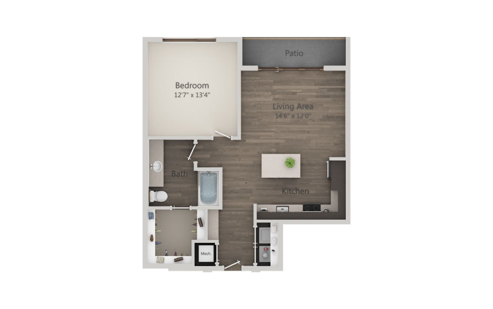 A5a - 1 bedroom floorplan layout with 1 bath and 745 to 779 square feet. (2D)