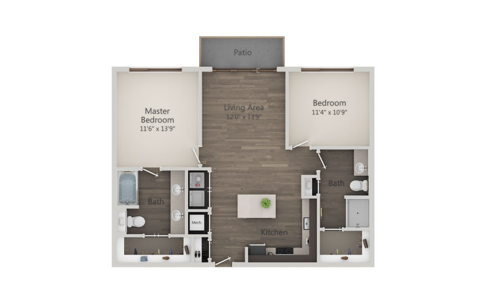 B1 - 2 bedroom floorplan layout with 2 baths and 1008 square feet. (2D)
