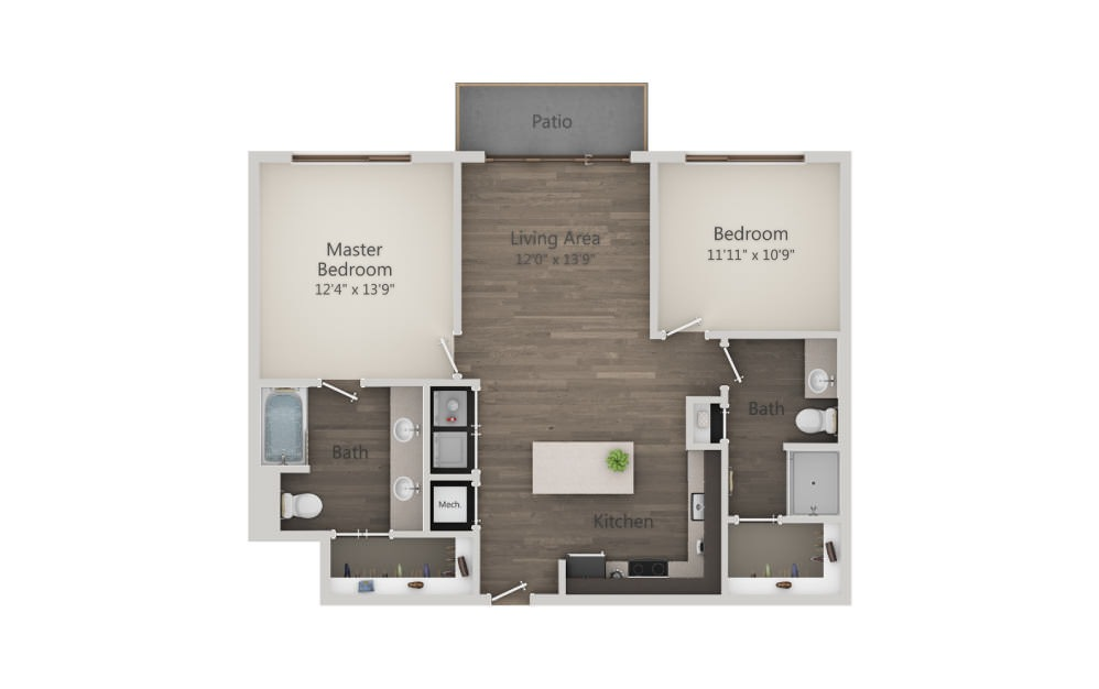 B1a - 2 bedroom floorplan layout with 2 baths and 1042 square feet. (2D)