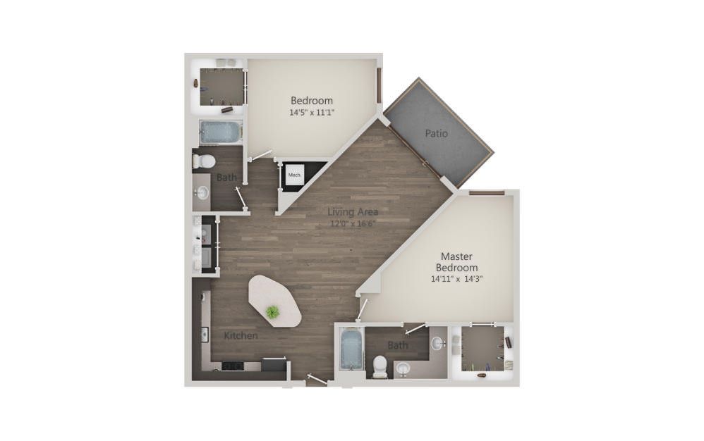 B2 - 2 bedroom floorplan layout with 2 baths and 1140 to 1142 square feet. (2D)