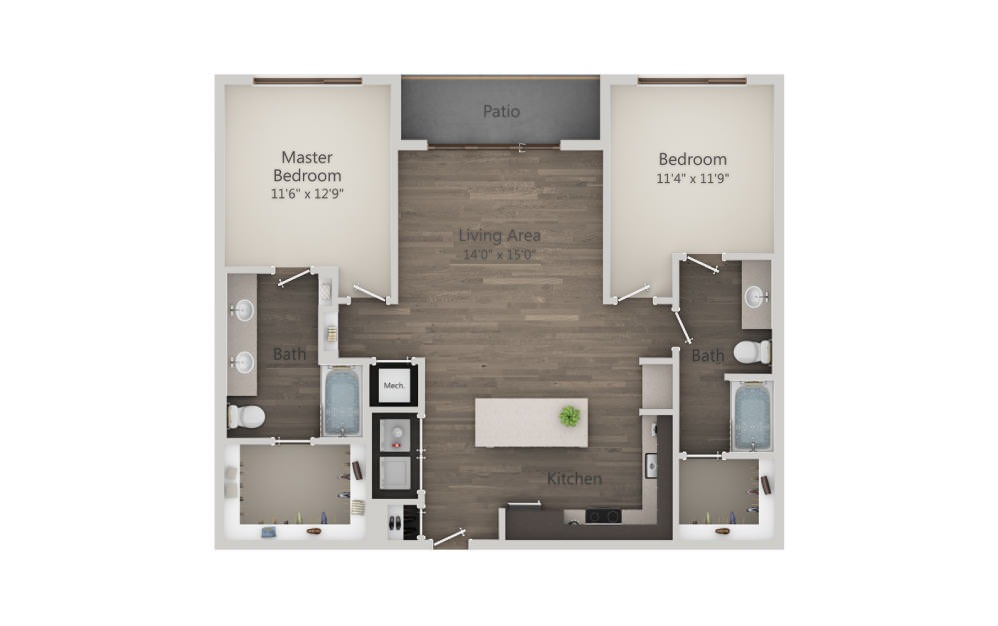 B3 - 2 bedroom floorplan layout with 2 baths and 1153 square feet. (2D)