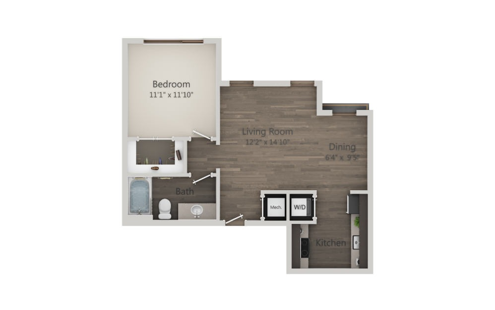 S2 - Studio floorplan layout with 1 bath and 656 square feet. (2D)