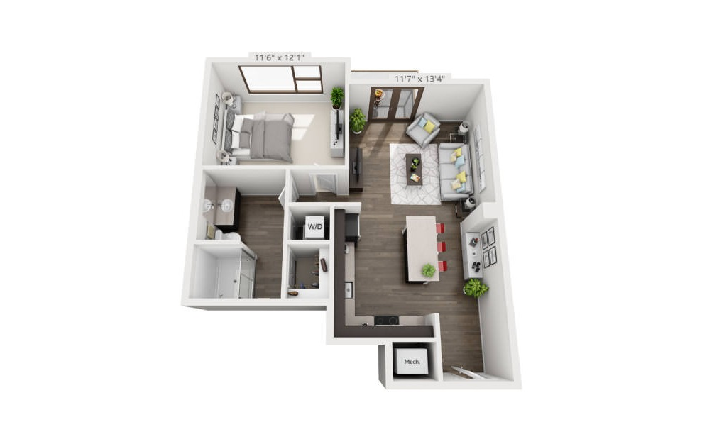 A1a - 1 bedroom floorplan layout with 1 bath and 674 to 675 square feet. (3D)