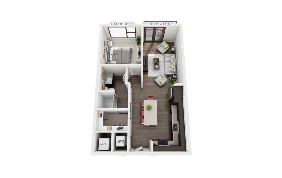 A2 - 1 bedroom floorplan layout with 1 bath and 666 square feet. (3D)