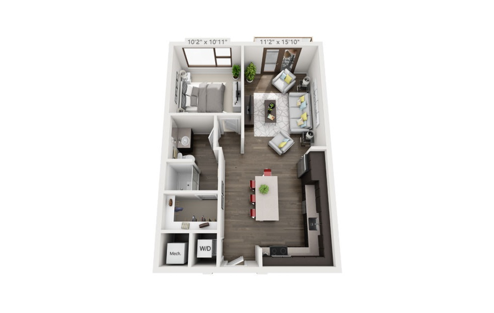 A2a - 1 bedroom floorplan layout with 1 bath and 702 square feet. (3D)