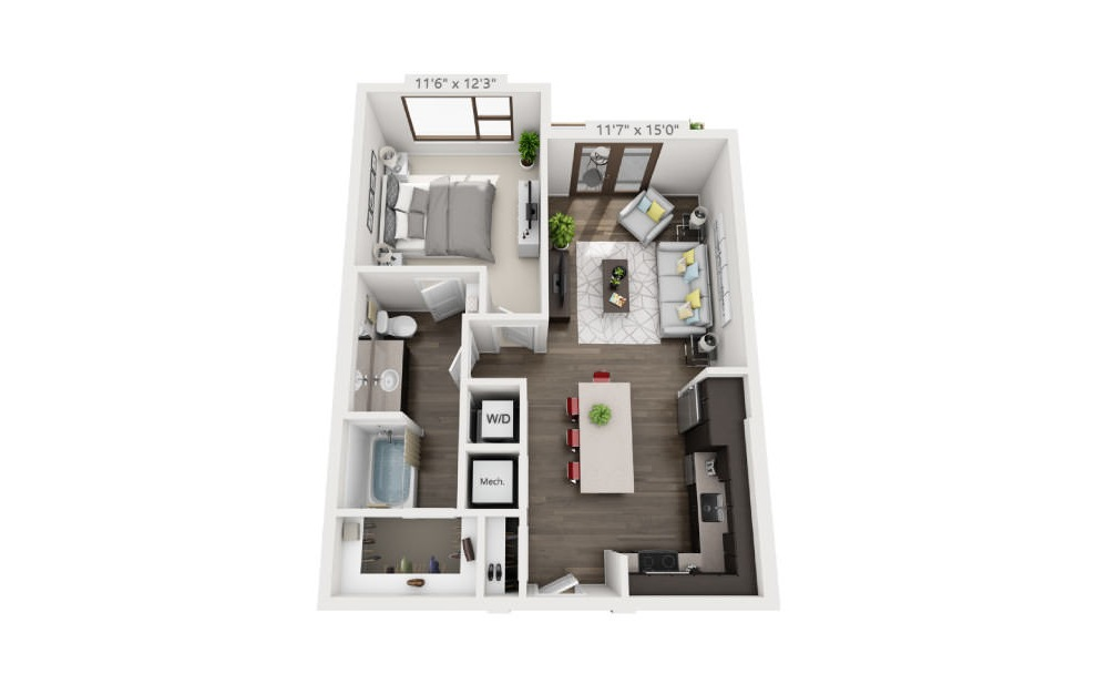 A3 - 1 bedroom floorplan layout with 1 bath and 715 square feet. (3D)