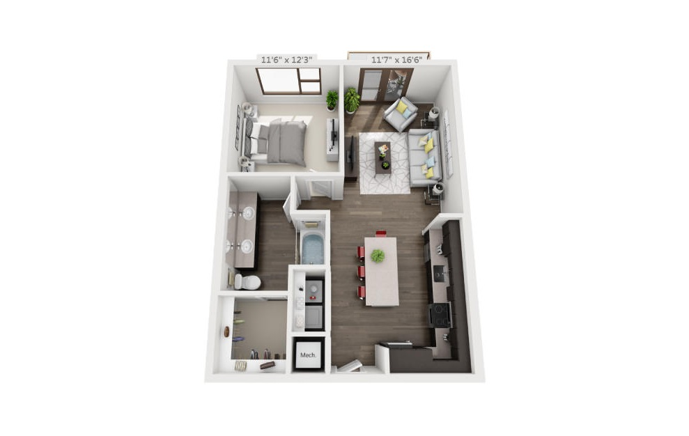 A4 - 1 bedroom floorplan layout with 1 bath and 768 square feet. (3D)