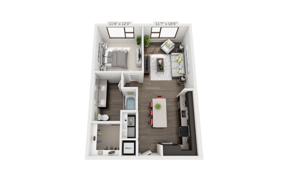 A4 Ansi - 1 bedroom floorplan layout with 1 bath and 768 square feet. (3D)