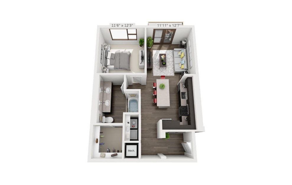 A4b - 1 bedroom floorplan layout with 1 bath and 784 square feet. (3D)