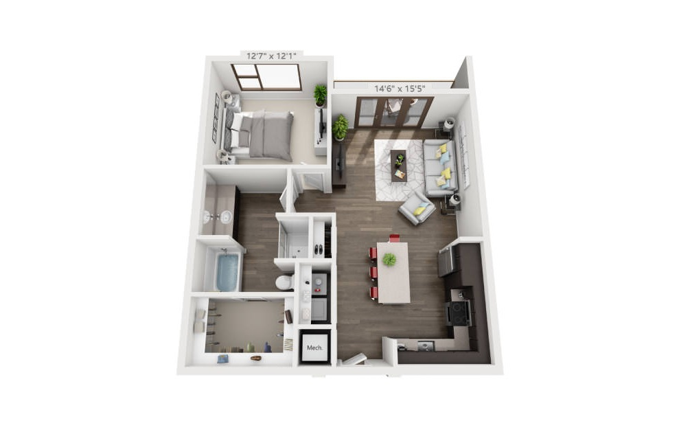 A5 - 1 bedroom floorplan layout with 1 bath and 837 square feet. (3D)