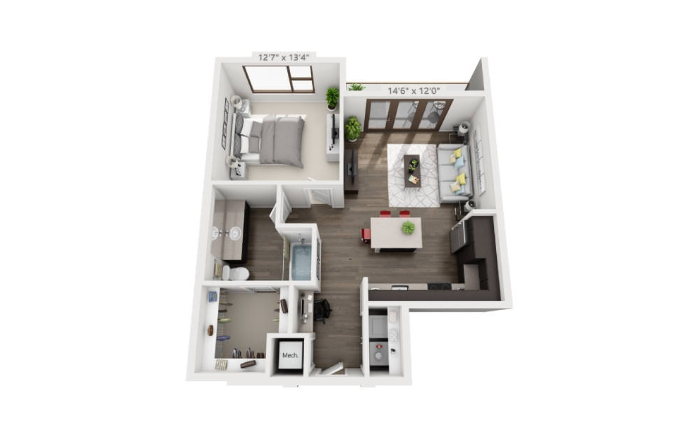 A5a - 1 bedroom floorplan layout with 1 bath and 745 to 779 square feet. (3D)