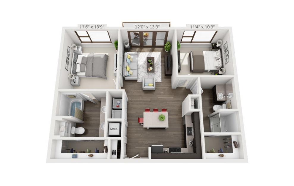 B1 - 2 bedroom floorplan layout with 2 baths and 1008 square feet. (3D)