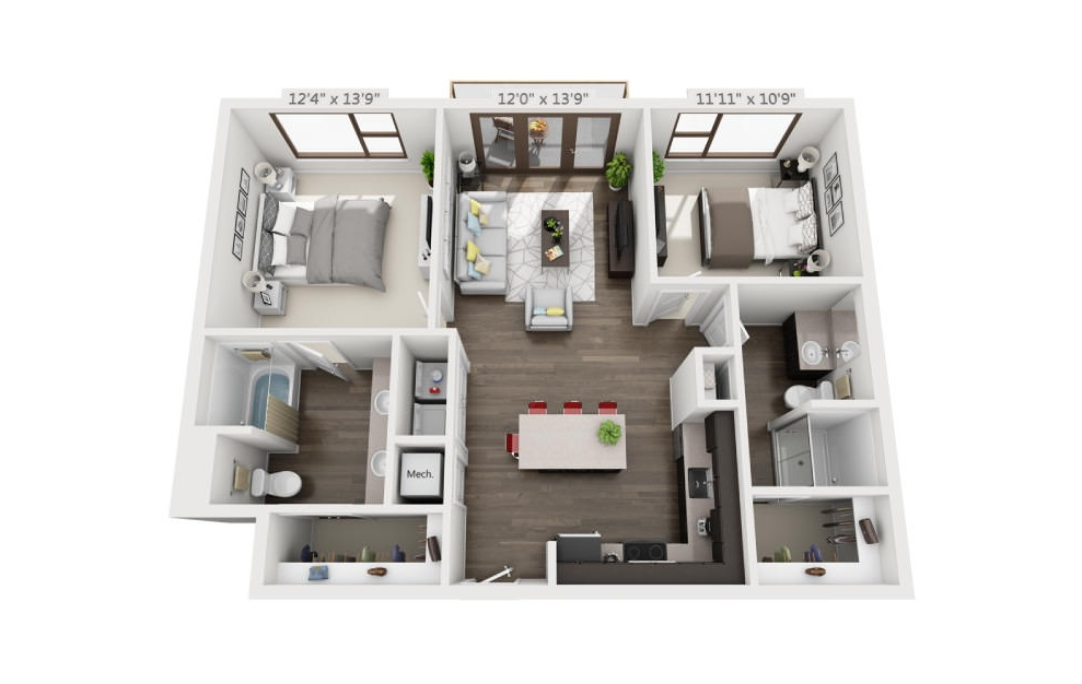 B1a - 2 bedroom floorplan layout with 2 baths and 1042 square feet. (3D)