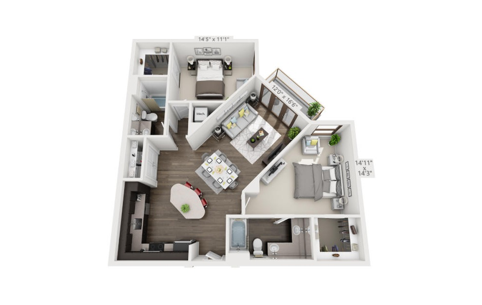 B2 - 2 bedroom floorplan layout with 2 baths and 1140 to 1142 square feet. (3D)