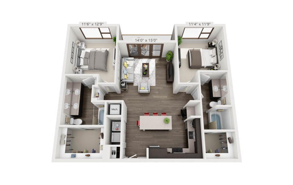 B3 - 2 bedroom floorplan layout with 2 baths and 1153 square feet. (3D)