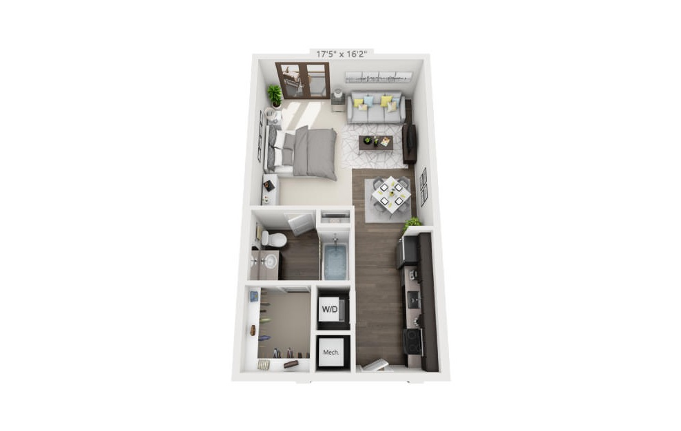 S1 - Studio floorplan layout with 1 bath and 426 to 607 square feet. (3D)