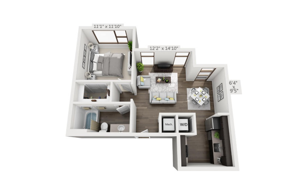 S2 - Studio floorplan layout with 1 bath and 656 square feet. (3D)